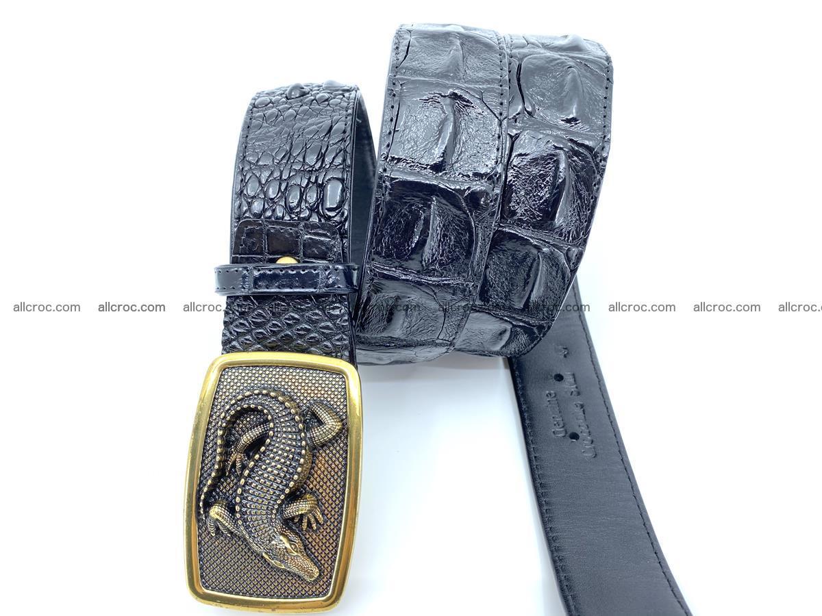 Handcrafted Crocodile leather hornback belt 809 Foto 2