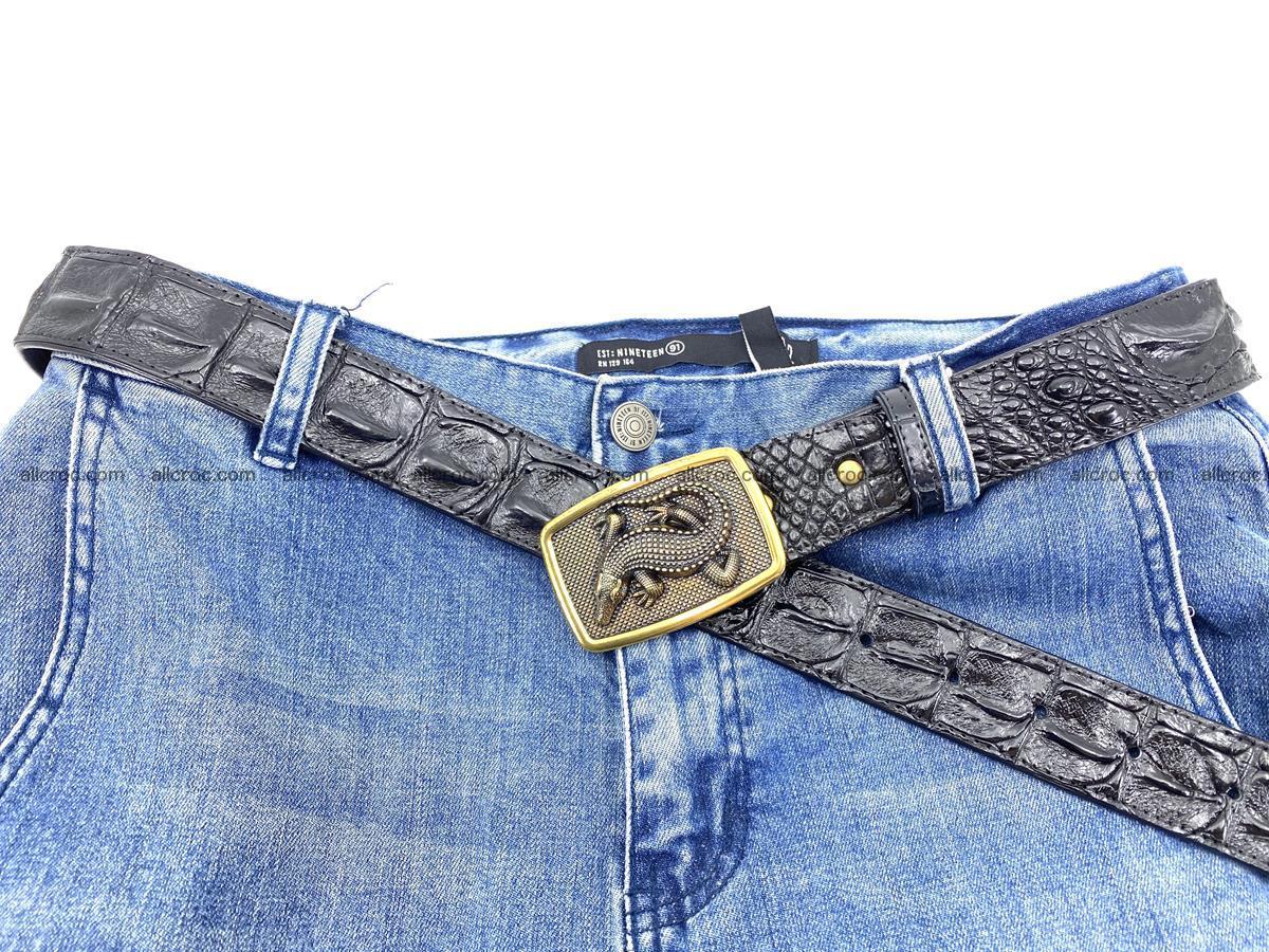 Handcrafted Crocodile leather hornback belt 809 Foto 3