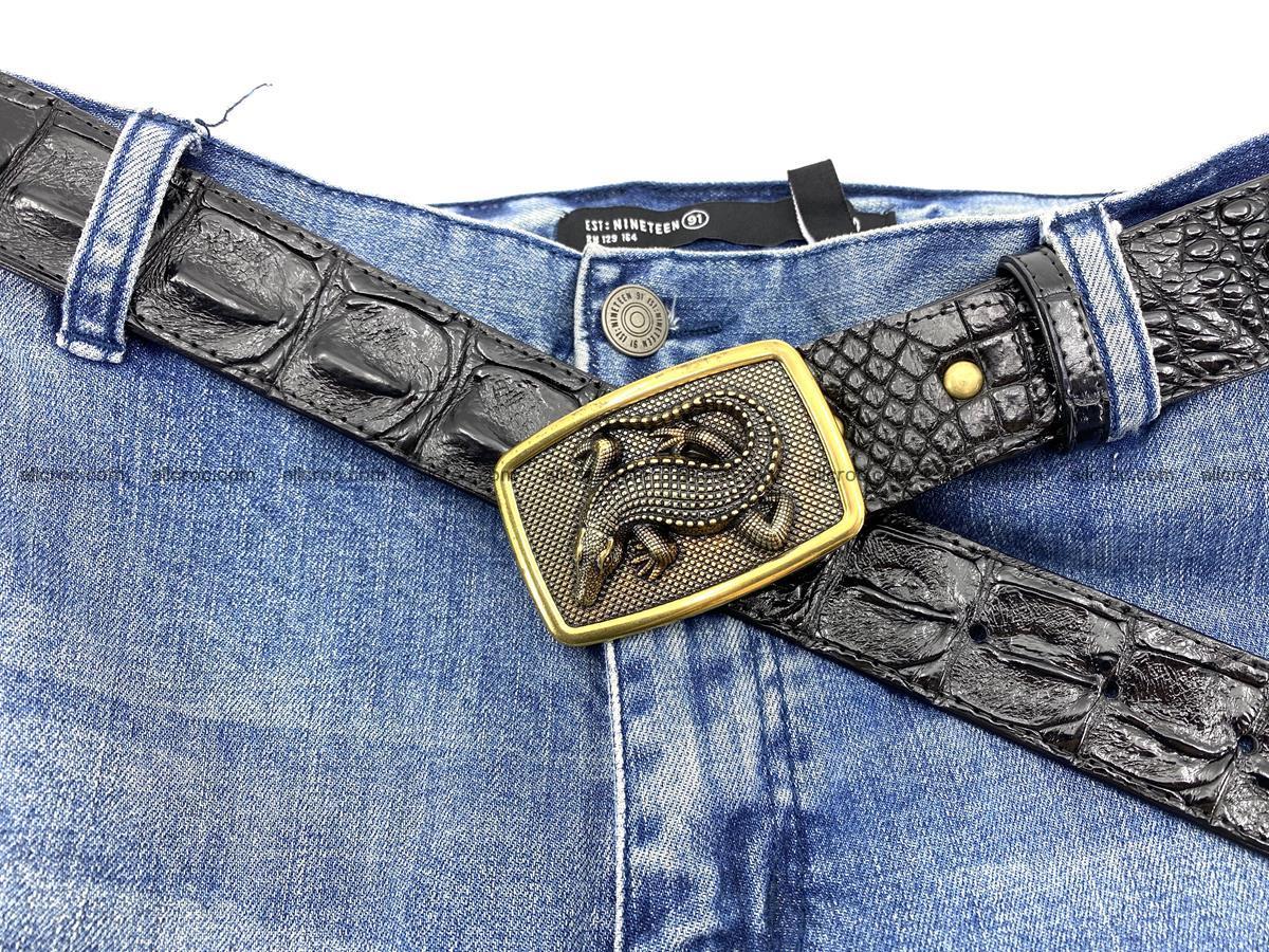 Handcrafted Crocodile leather hornback belt 809 Foto 4
