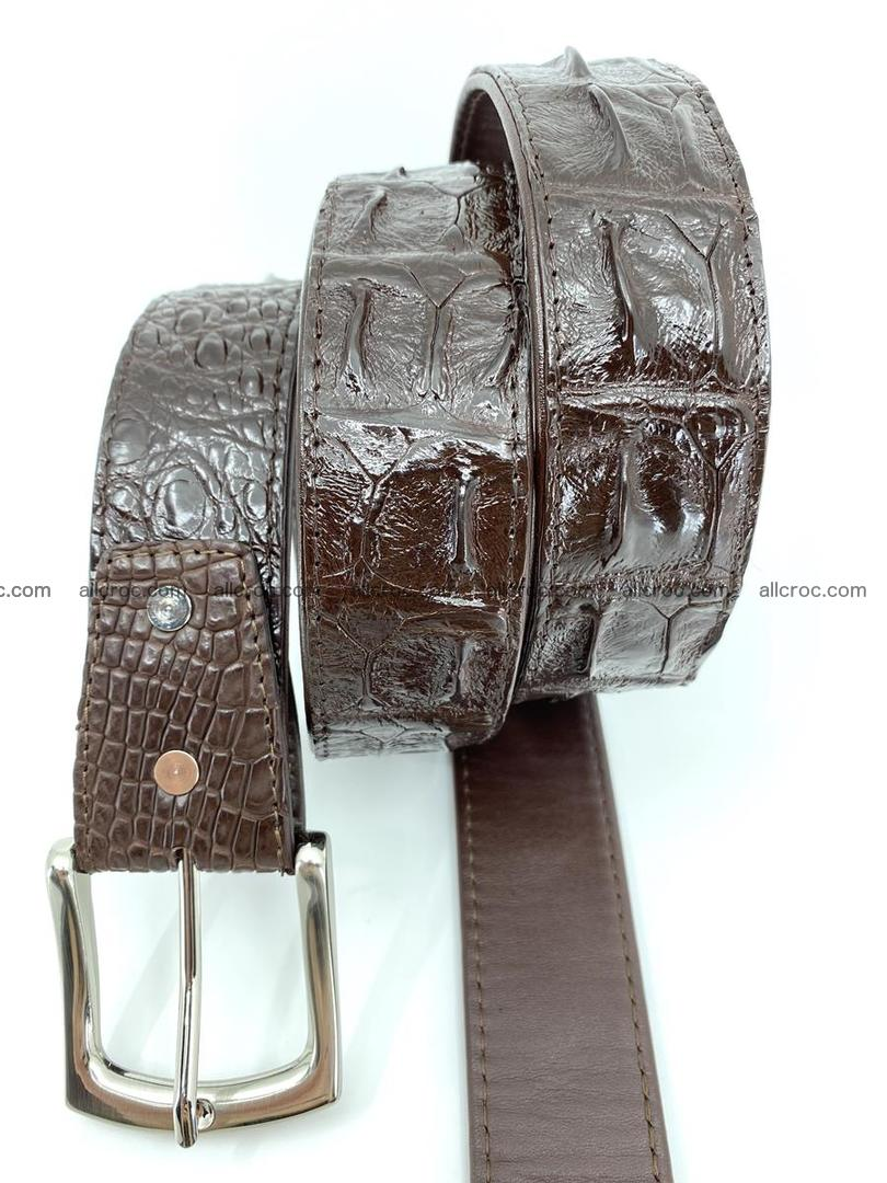 Handcrafted Crocodile leather hornback belt 747 Foto 4