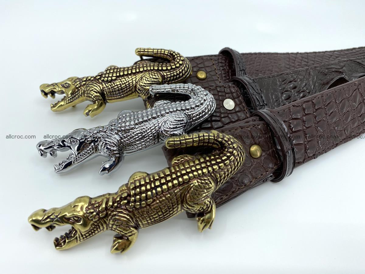 Handcrafted Crocodile leather hornback belt 766 Foto 13