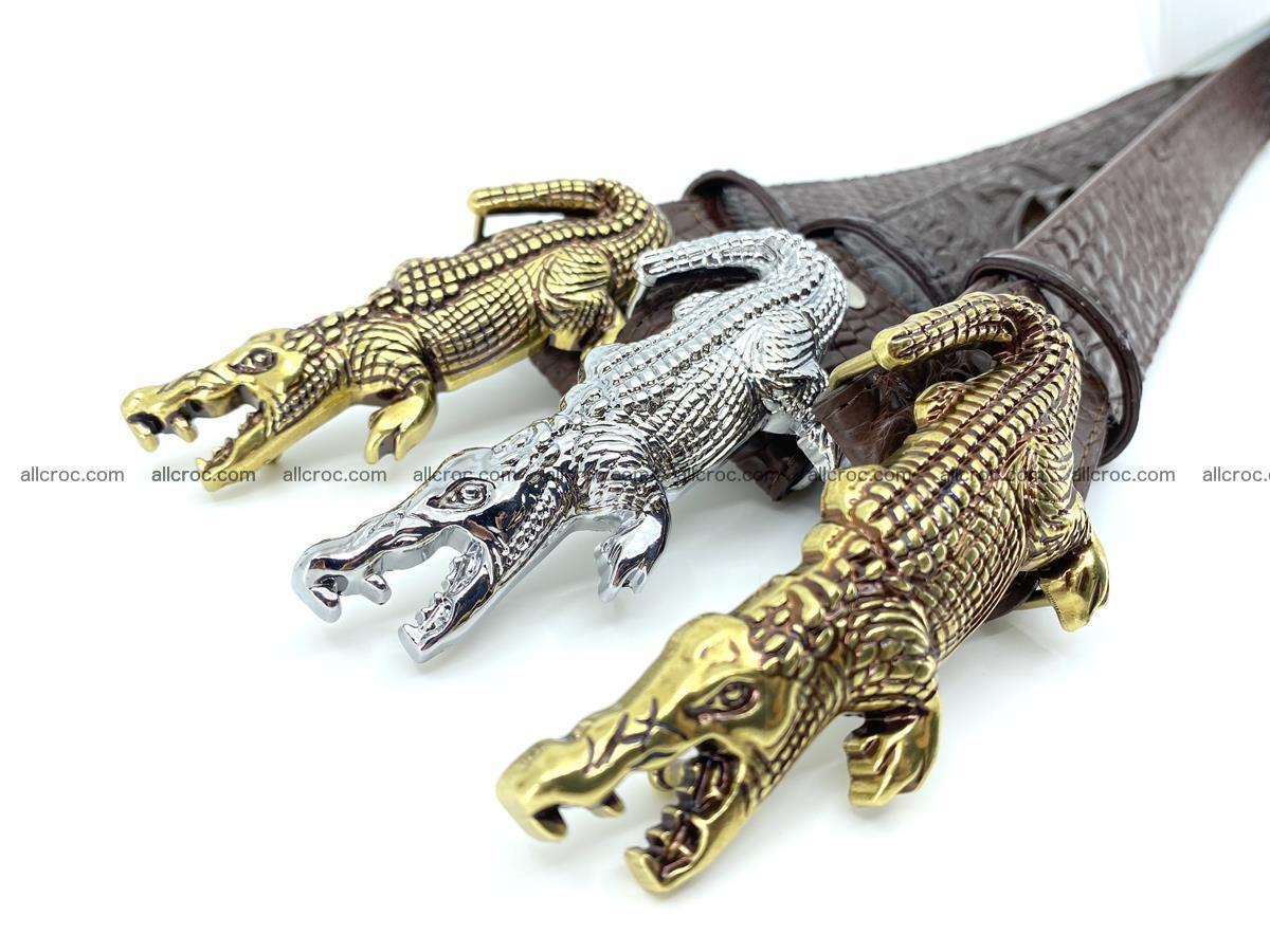 Handcrafted Crocodile leather hornback belt 766 Foto 15