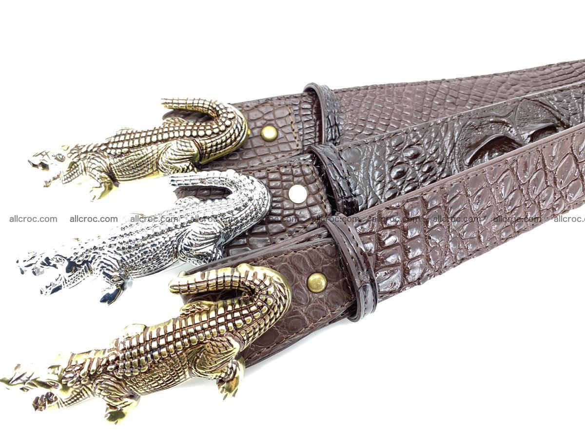 Handcrafted Crocodile leather hornback belt 766 Foto 16