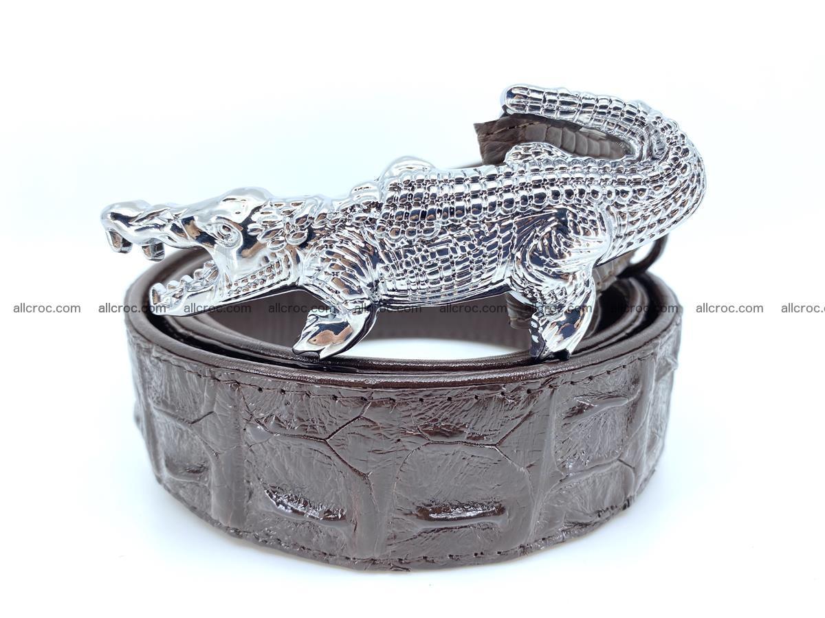 Handcrafted Crocodile leather hornback belt 766 Foto 0