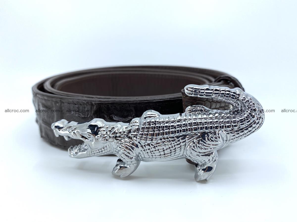 Handcrafted Crocodile leather hornback belt 766 Foto 1