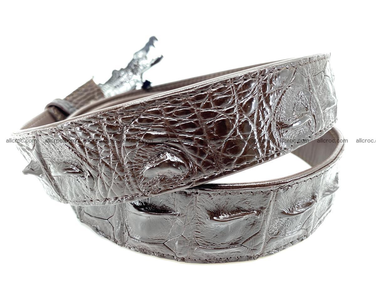 Handcrafted Crocodile leather hornback belt 766 Foto 3