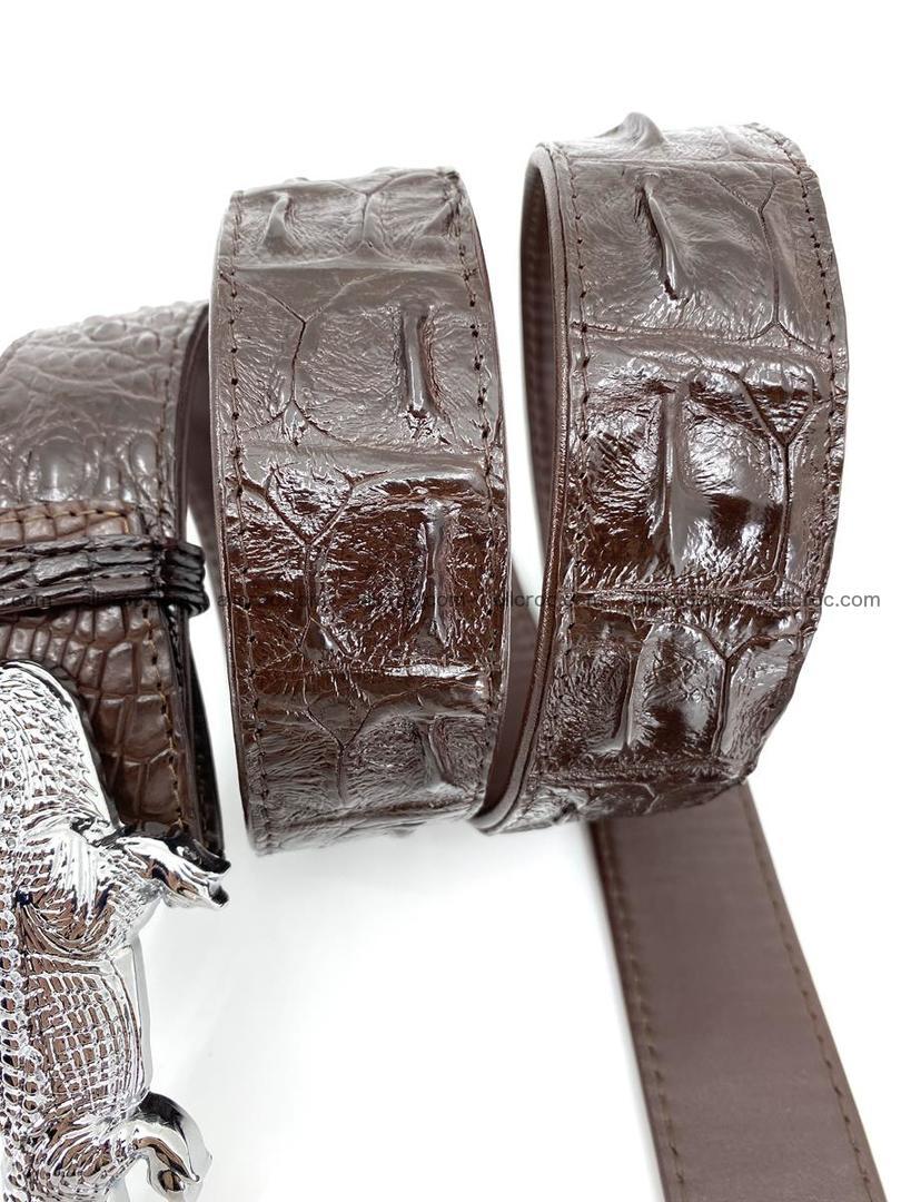 Handcrafted Crocodile leather hornback belt 766 Foto 5