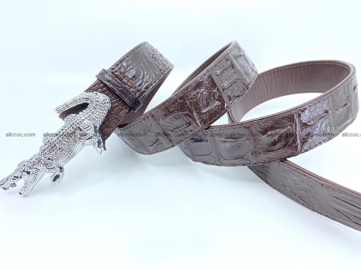 Handcrafted Crocodile leather hornback belt 766 Foto 6