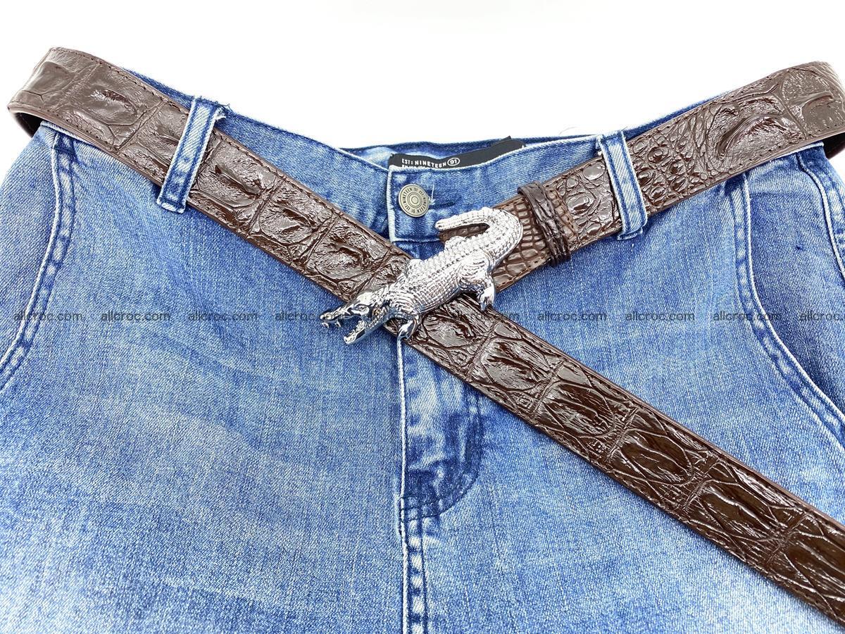 Handcrafted Crocodile leather hornback belt 766 Foto 9