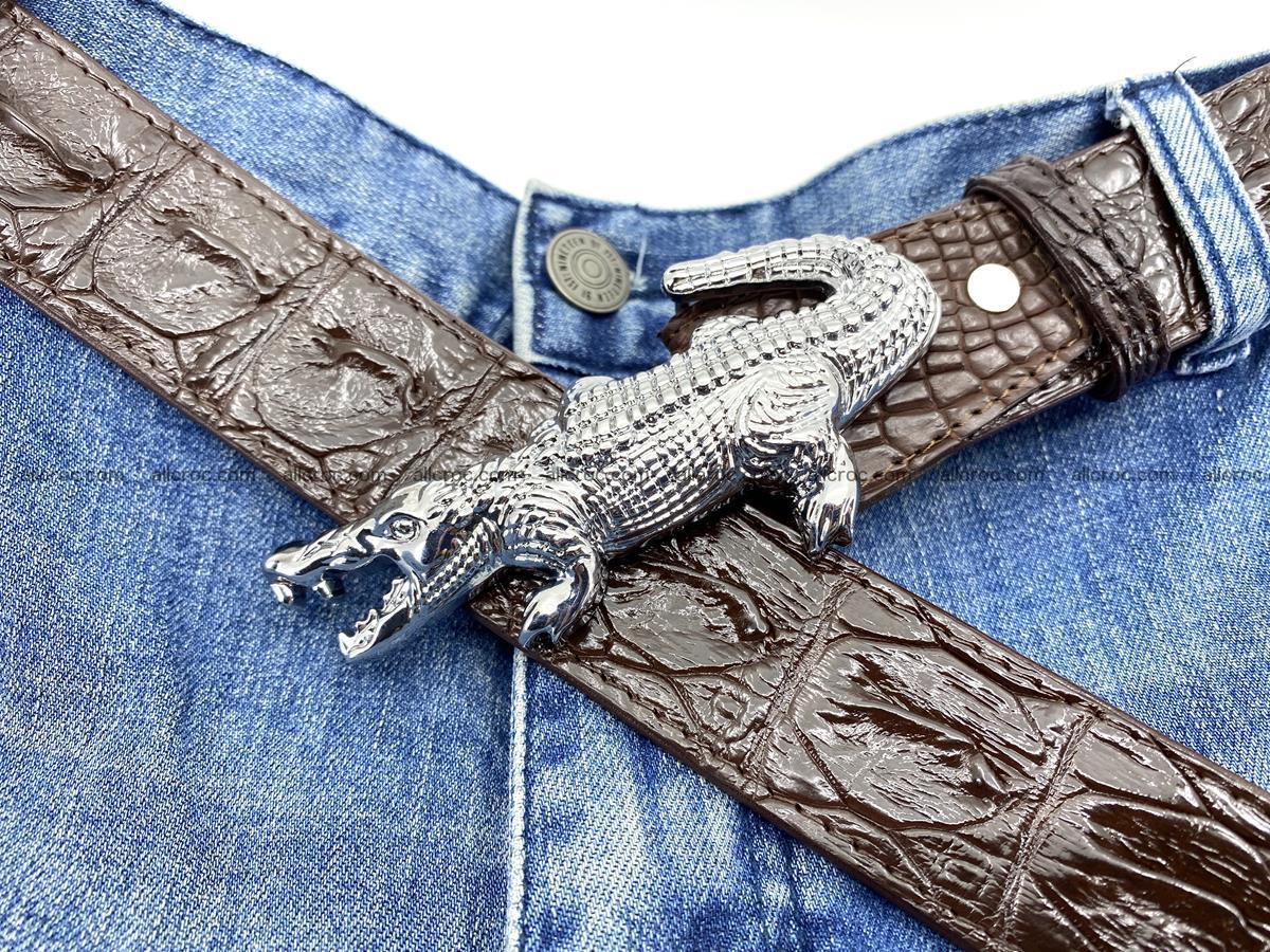 Handcrafted Crocodile leather hornback belt 766 Foto 10
