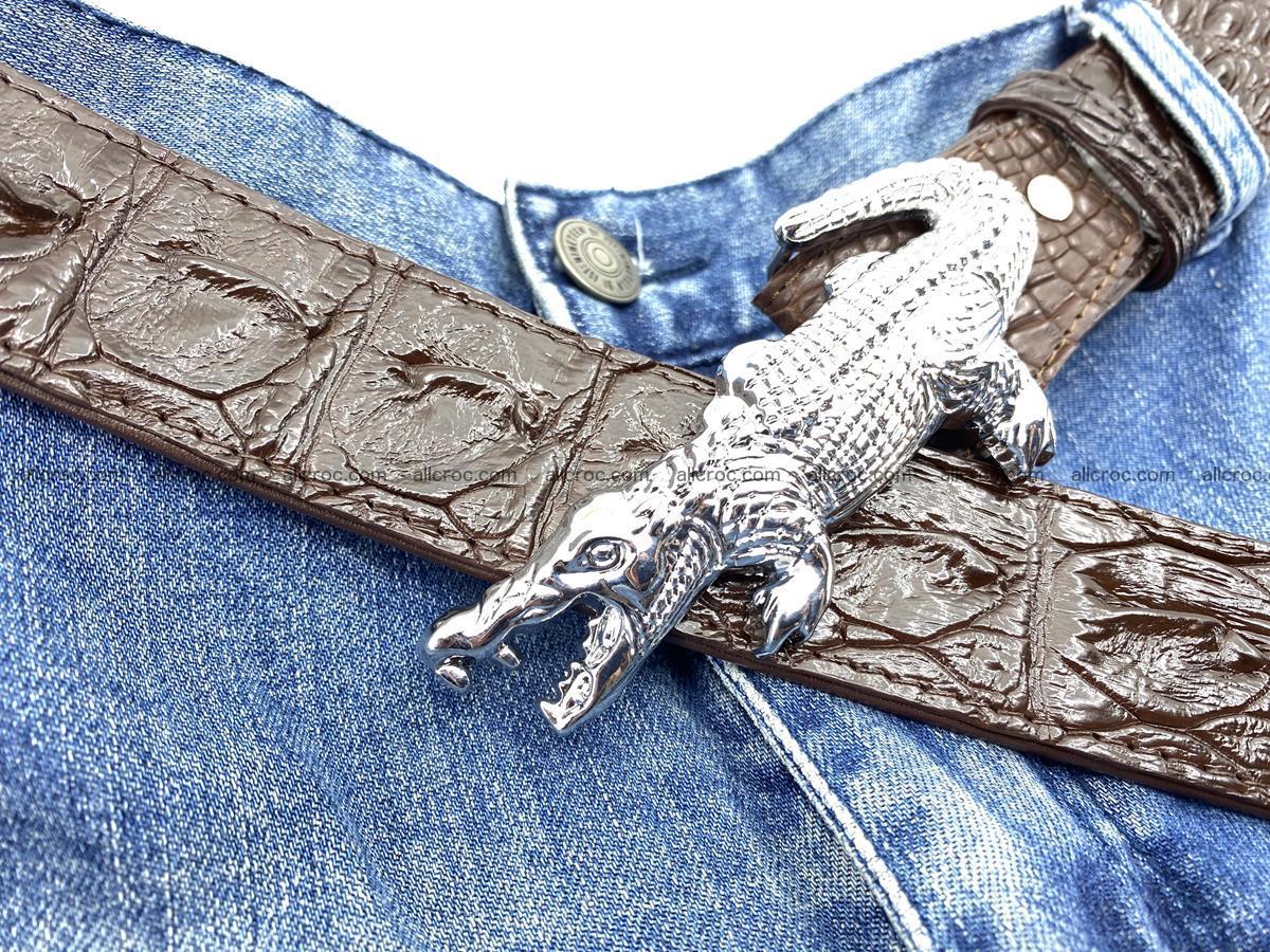 Handcrafted Crocodile leather hornback belt 766 Foto 11