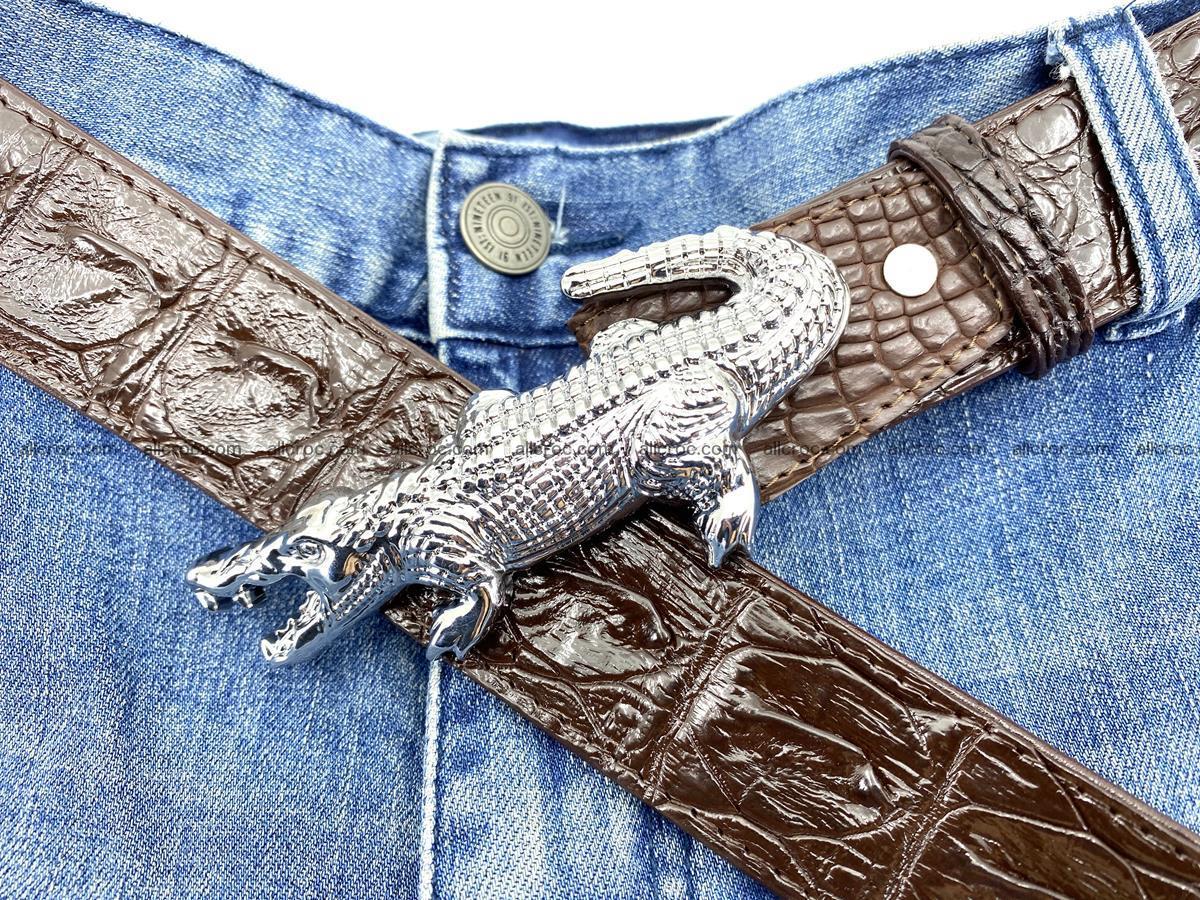 Handcrafted Crocodile leather hornback belt 766 Foto 12
