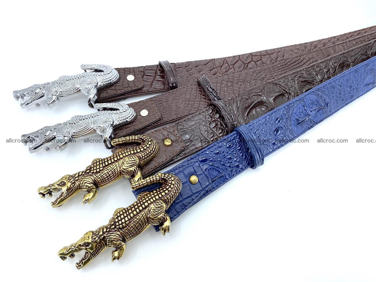 Handcrafted Crocodile leather hornback belt 761 Foto 12