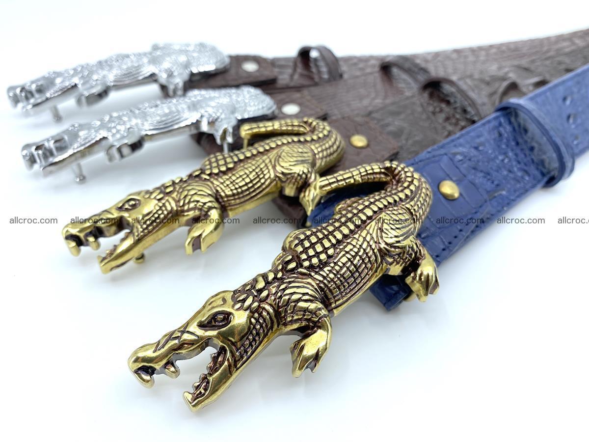Handcrafted Crocodile leather hornback belt 761 Foto 13
