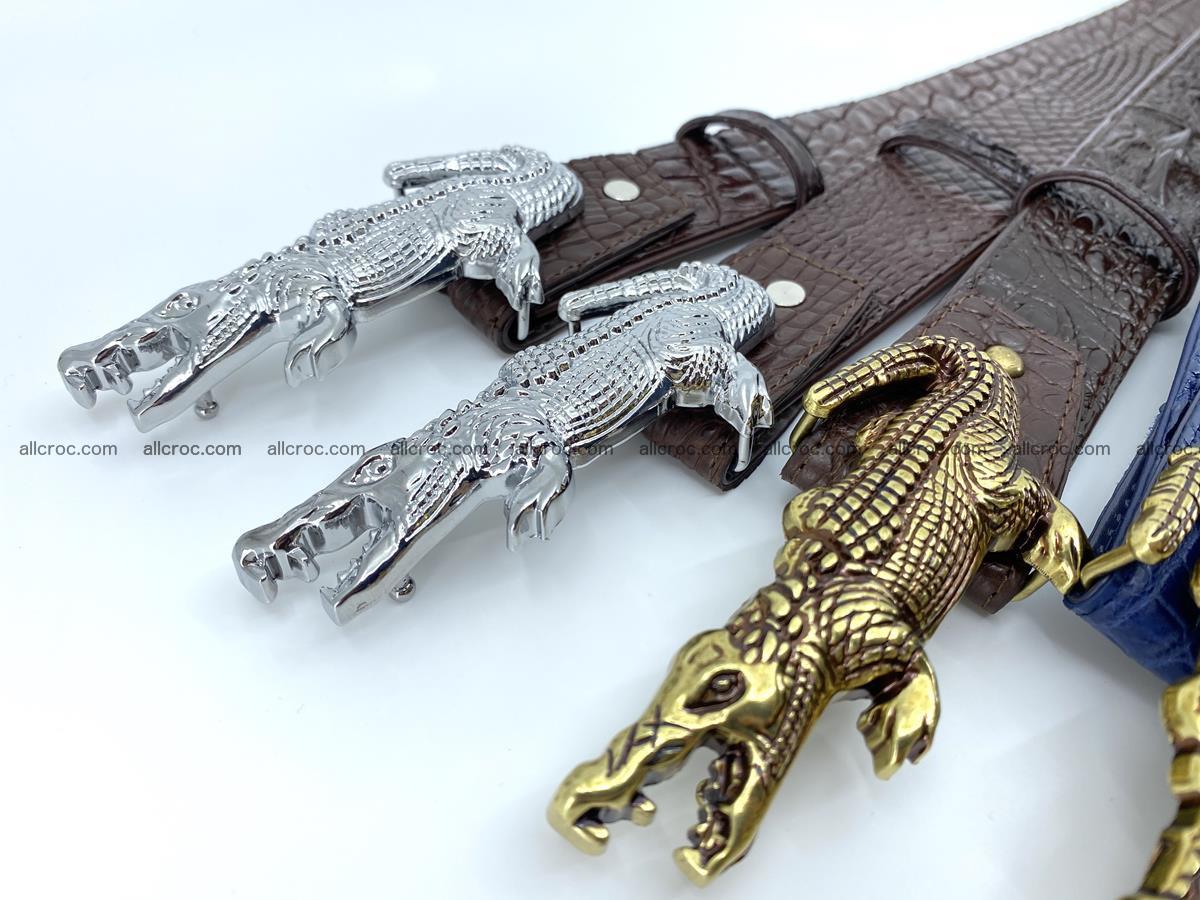 Handcrafted Crocodile leather hornback belt 761 Foto 14