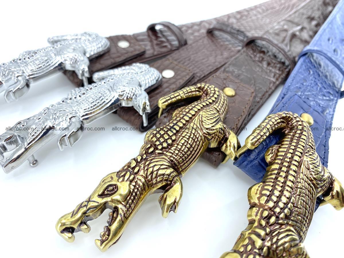 Handcrafted Crocodile leather hornback belt 761 Foto 15
