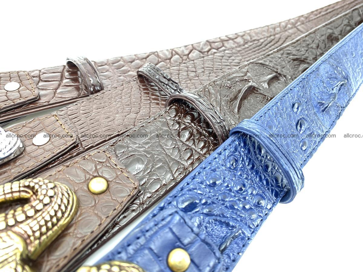 Handcrafted Crocodile leather hornback belt 761 Foto 16