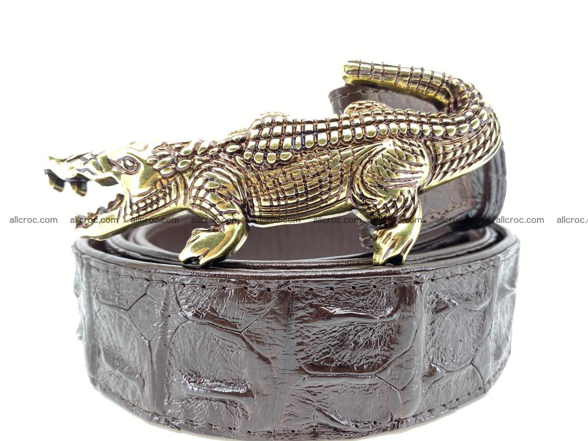 Handcrafted Crocodile leather hornback belt 761 Foto 0