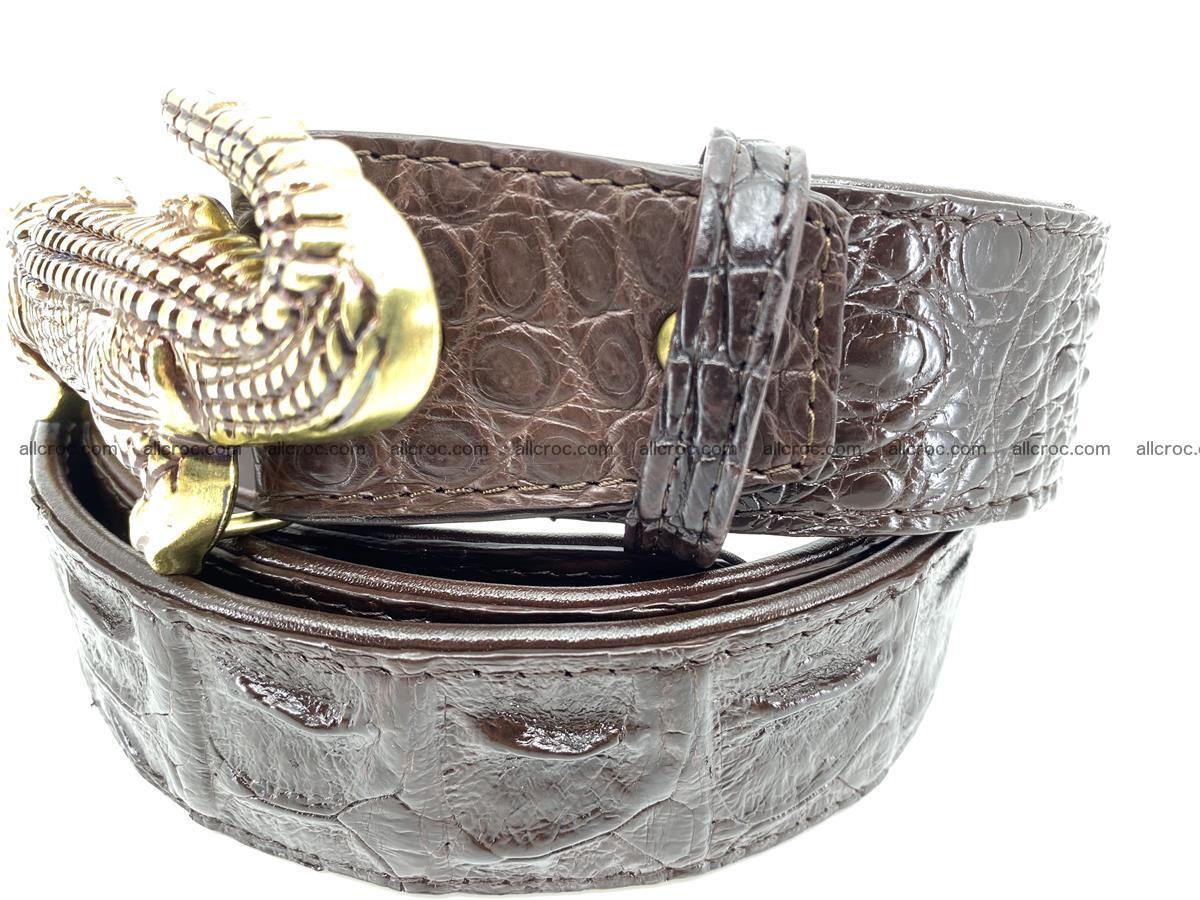 Handcrafted Crocodile leather hornback belt 761 Foto 3