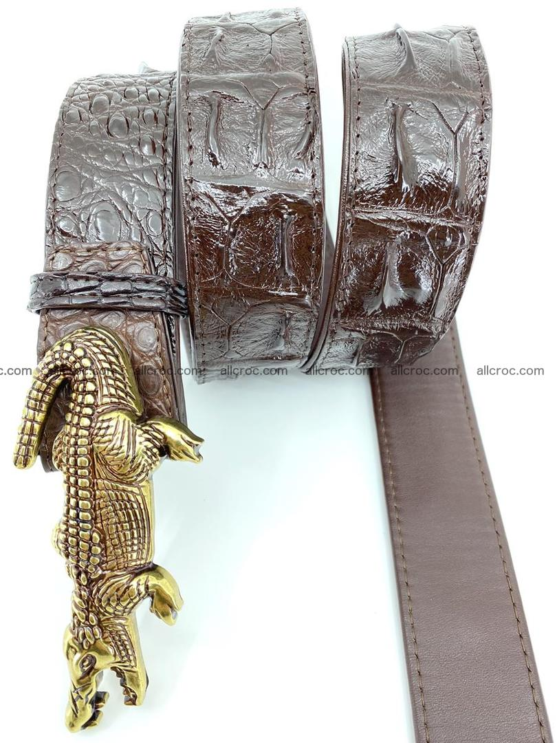 Handcrafted Crocodile leather hornback belt 761 Foto 5