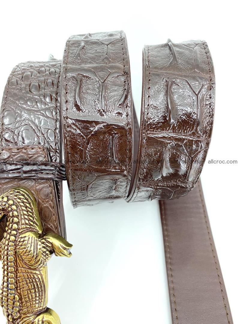 Handcrafted Crocodile leather hornback belt 761 Foto 6