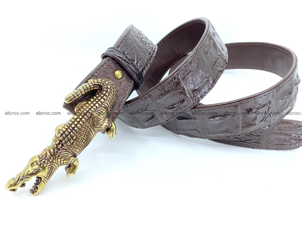 Handcrafted Crocodile leather hornback belt 761 Foto 7