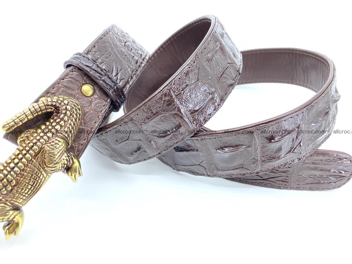 Handcrafted Crocodile leather hornback belt 761 Foto 8
