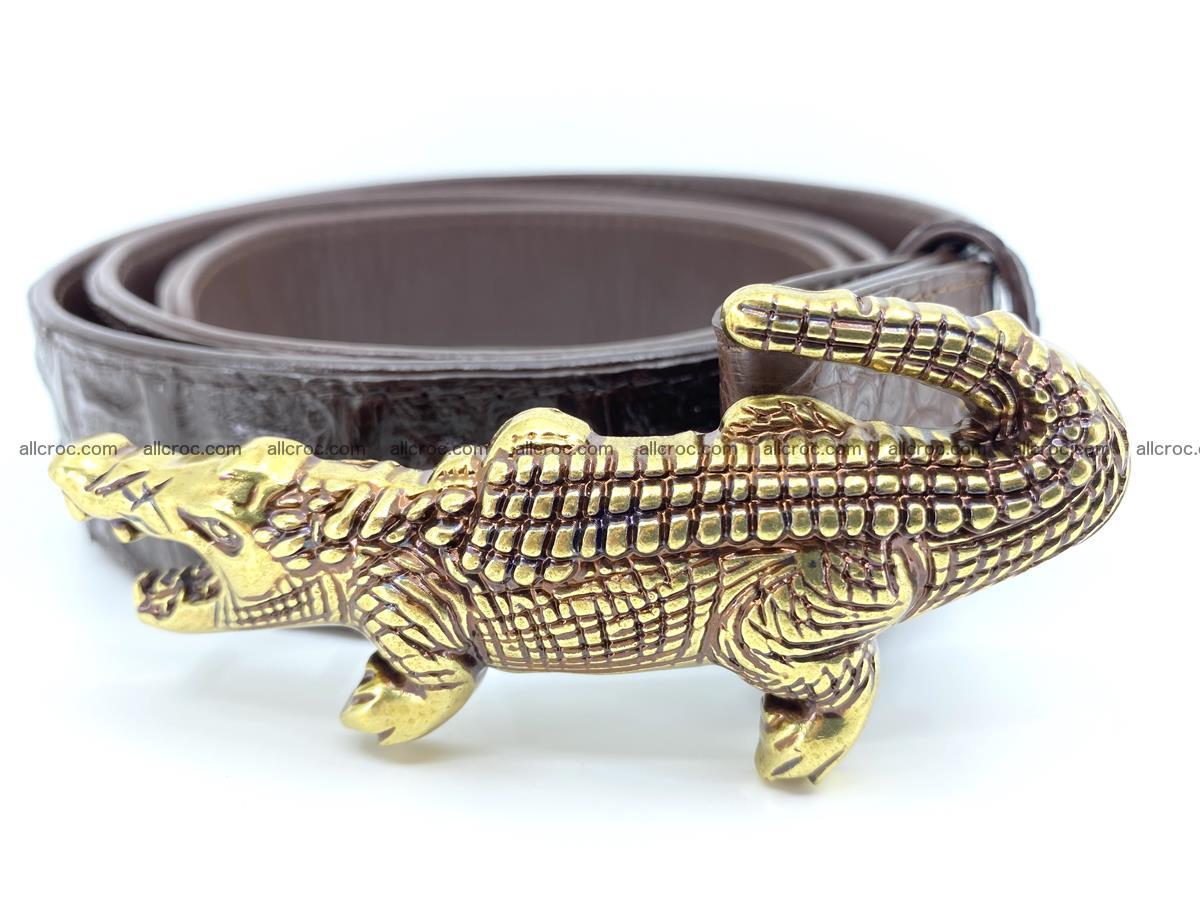 Handcrafted Crocodile leather hornback belt 761 Foto 1