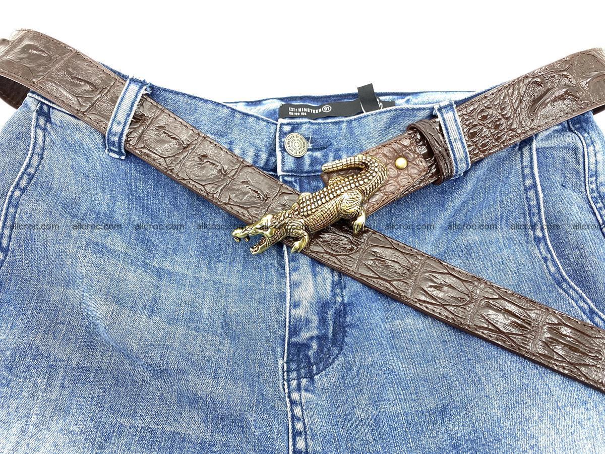 Handcrafted Crocodile leather hornback belt 761 Foto 9