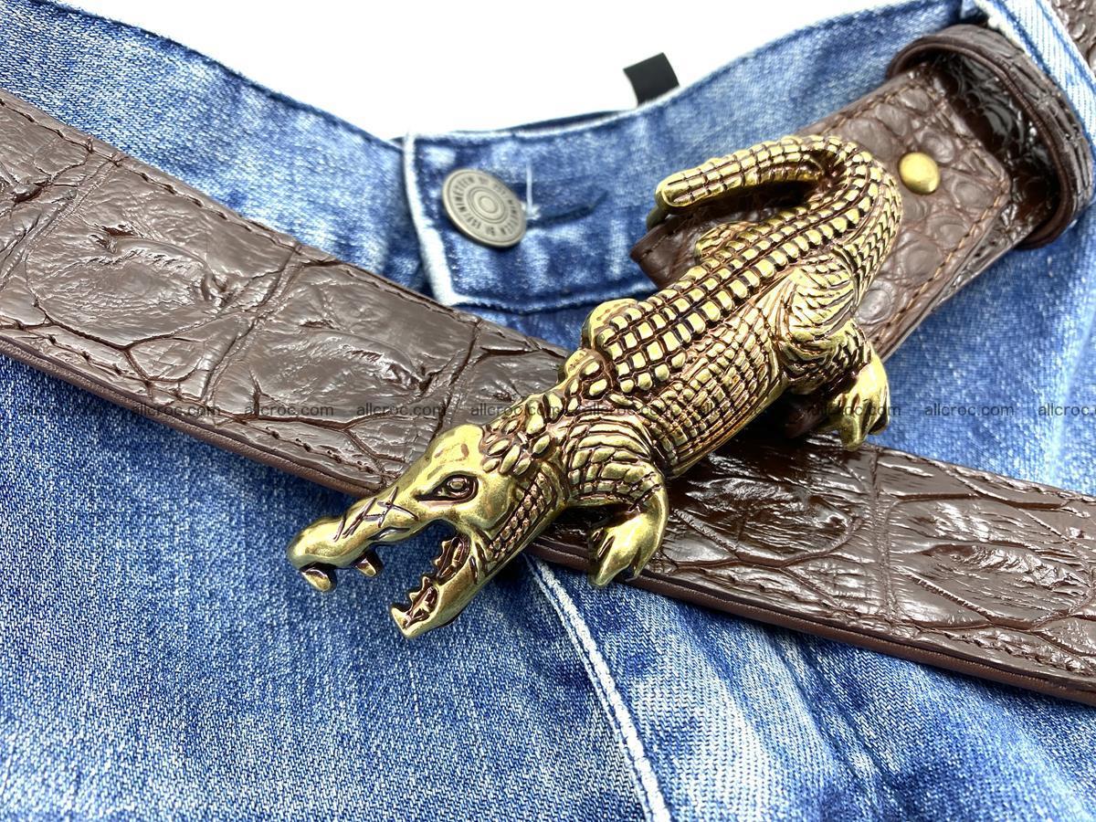 Handcrafted Crocodile leather hornback belt 761 Foto 10