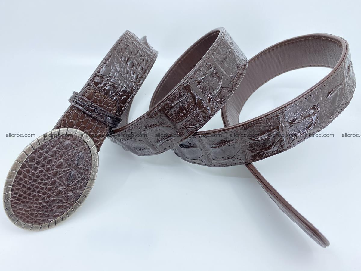 Handcrafted Crocodile leather hornback belt 773 Foto 3