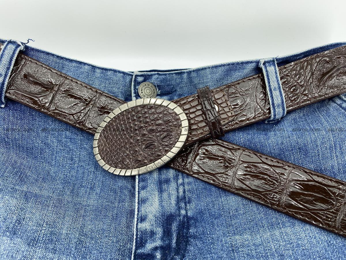 Handcrafted Crocodile leather hornback belt 773 Foto 6