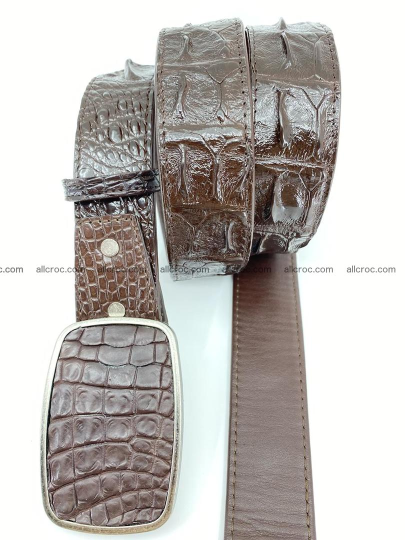 Handcrafted Crocodile leather hornback belt 784 Foto 2