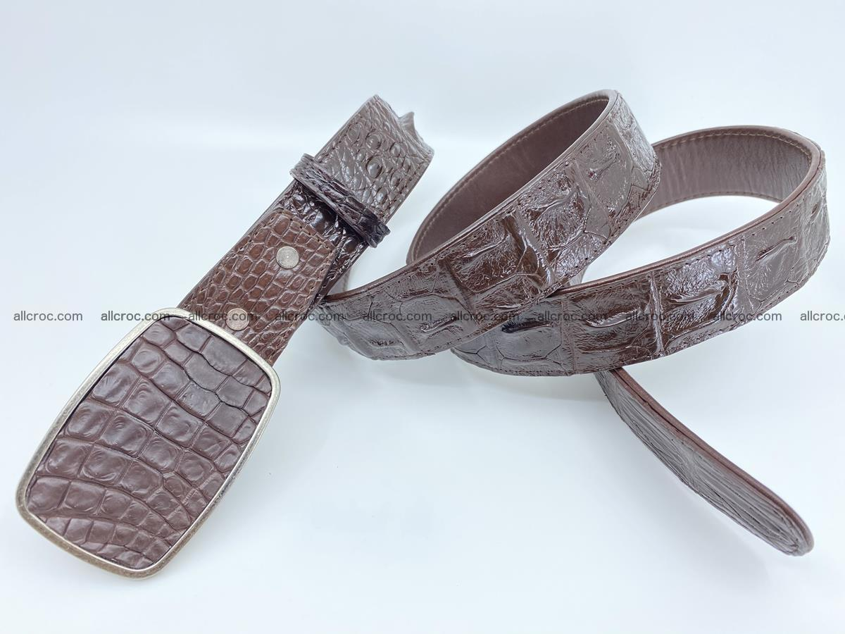 Handcrafted Crocodile leather hornback belt 784 Foto 3