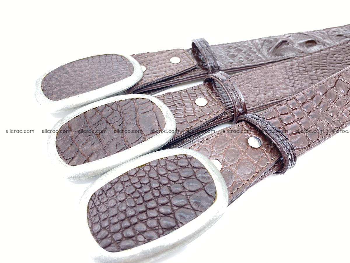 Handcrafted Crocodile leather hornback belt 796 Foto 10