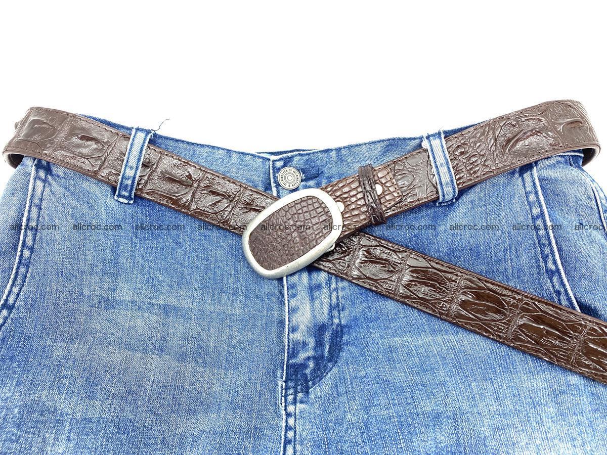 Handcrafted Crocodile leather hornback belt 796 Foto 5