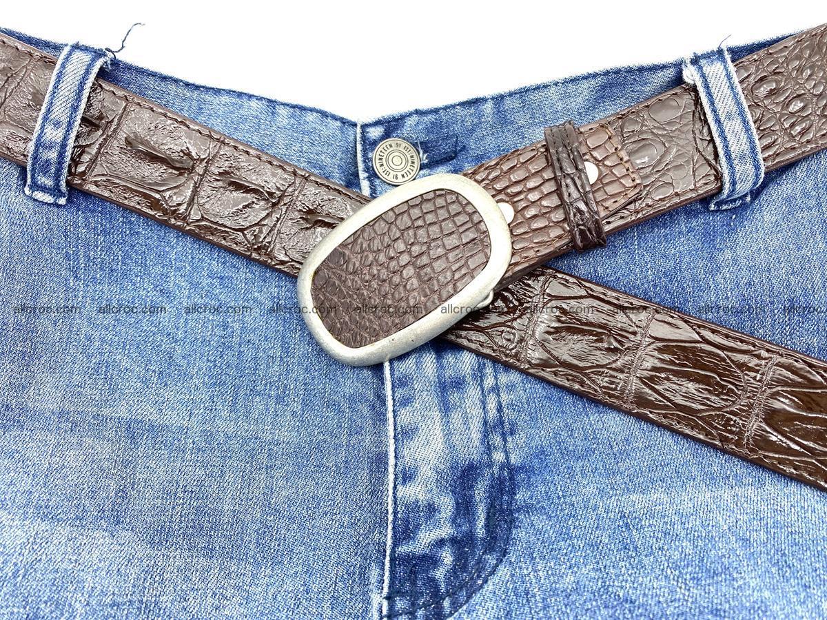 Handcrafted Crocodile leather hornback belt 796 Foto 6