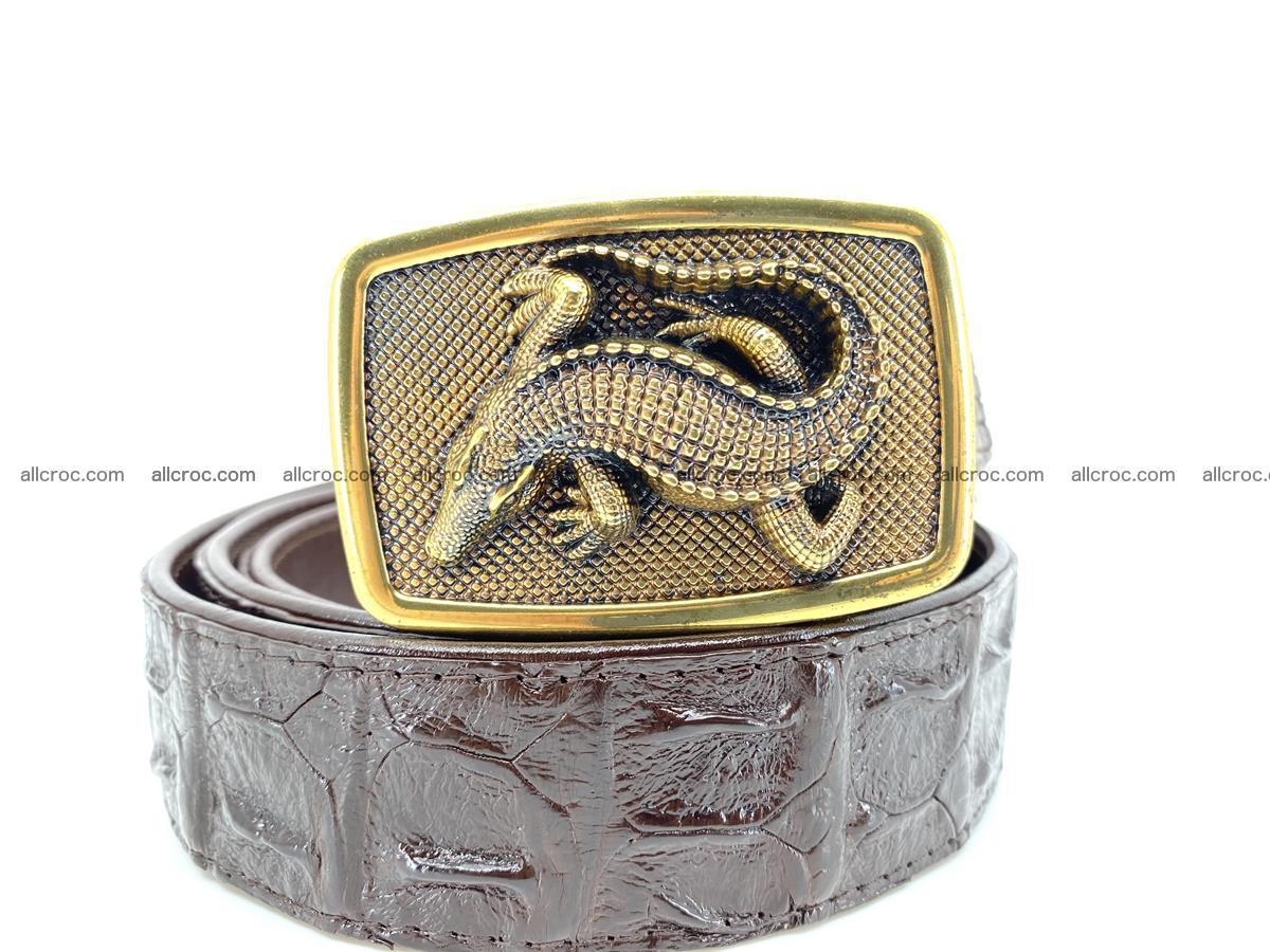Handcrafted Crocodile leather hornback belt 810 Foto 0