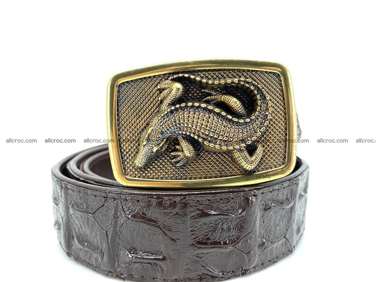 Handcrafted Crocodile leather hornback belt 810 Foto 10