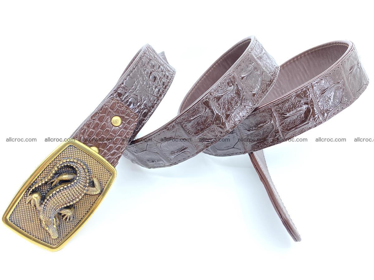 Handcrafted Crocodile leather hornback belt 810 Foto 3