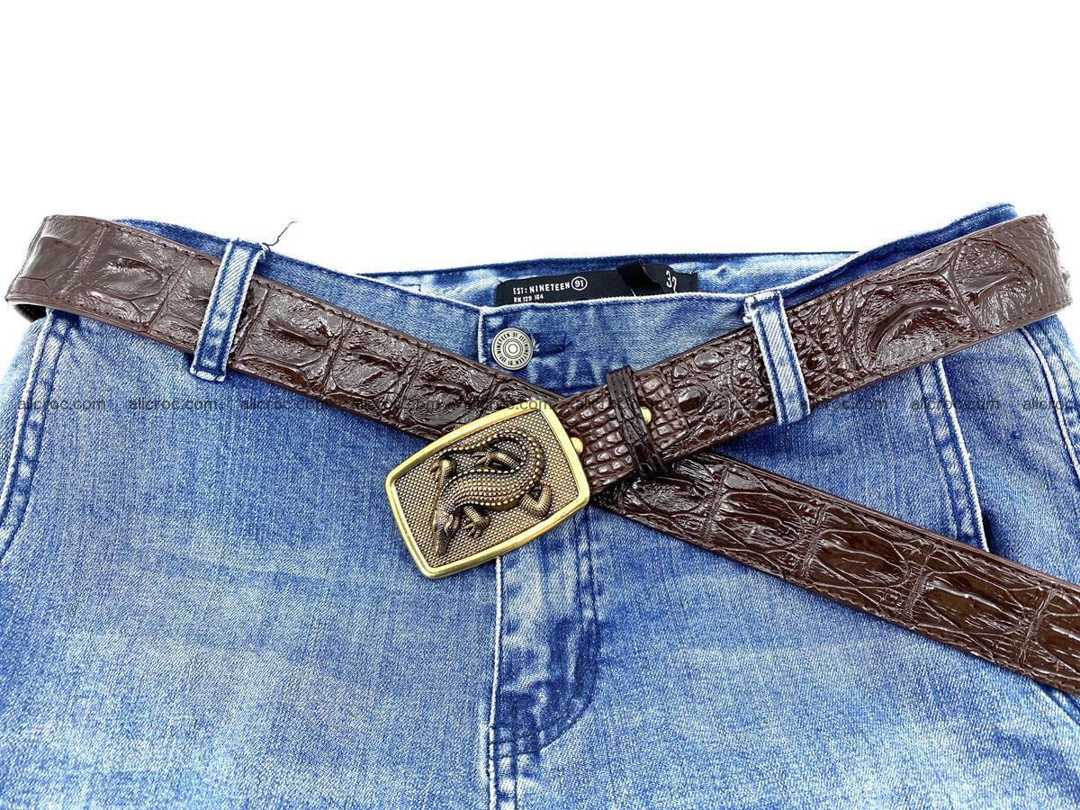 Handcrafted Crocodile leather hornback belt 810 Foto 5