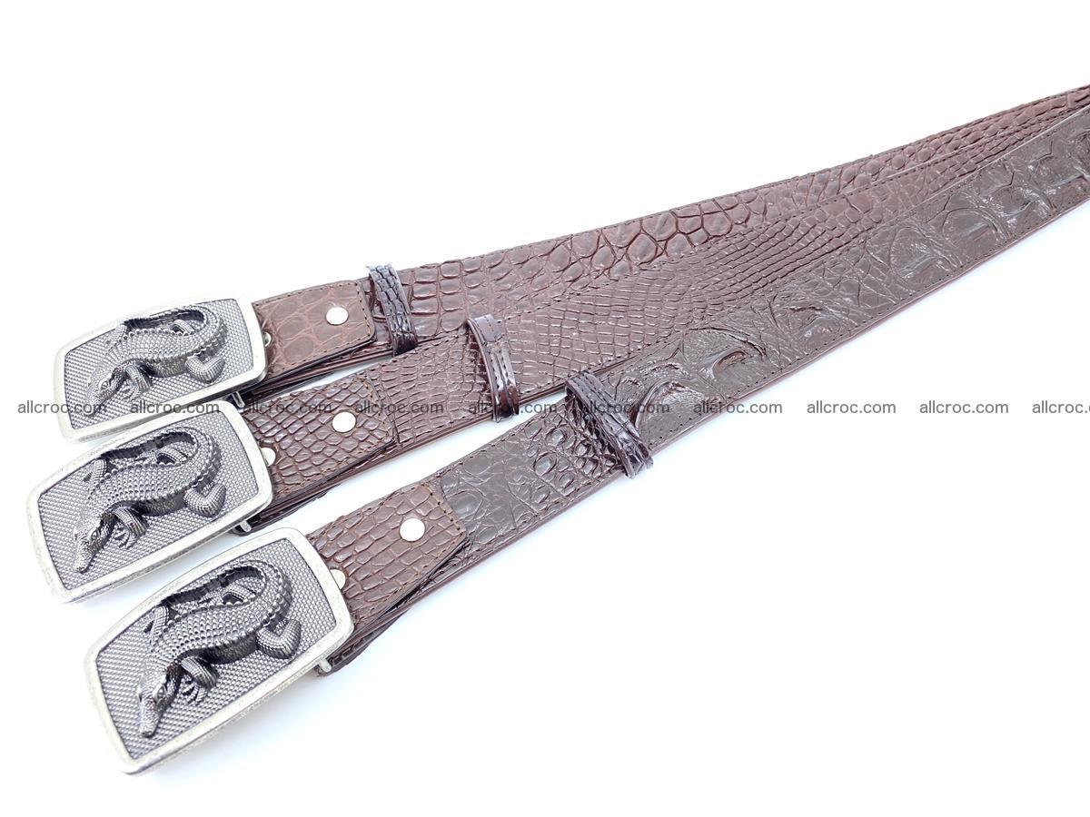 Handcrafted Crocodile leather hornback belt 808 Foto 9