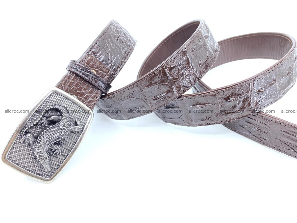 Handcrafted Crocodile leather hornback belt 808 Foto 3
