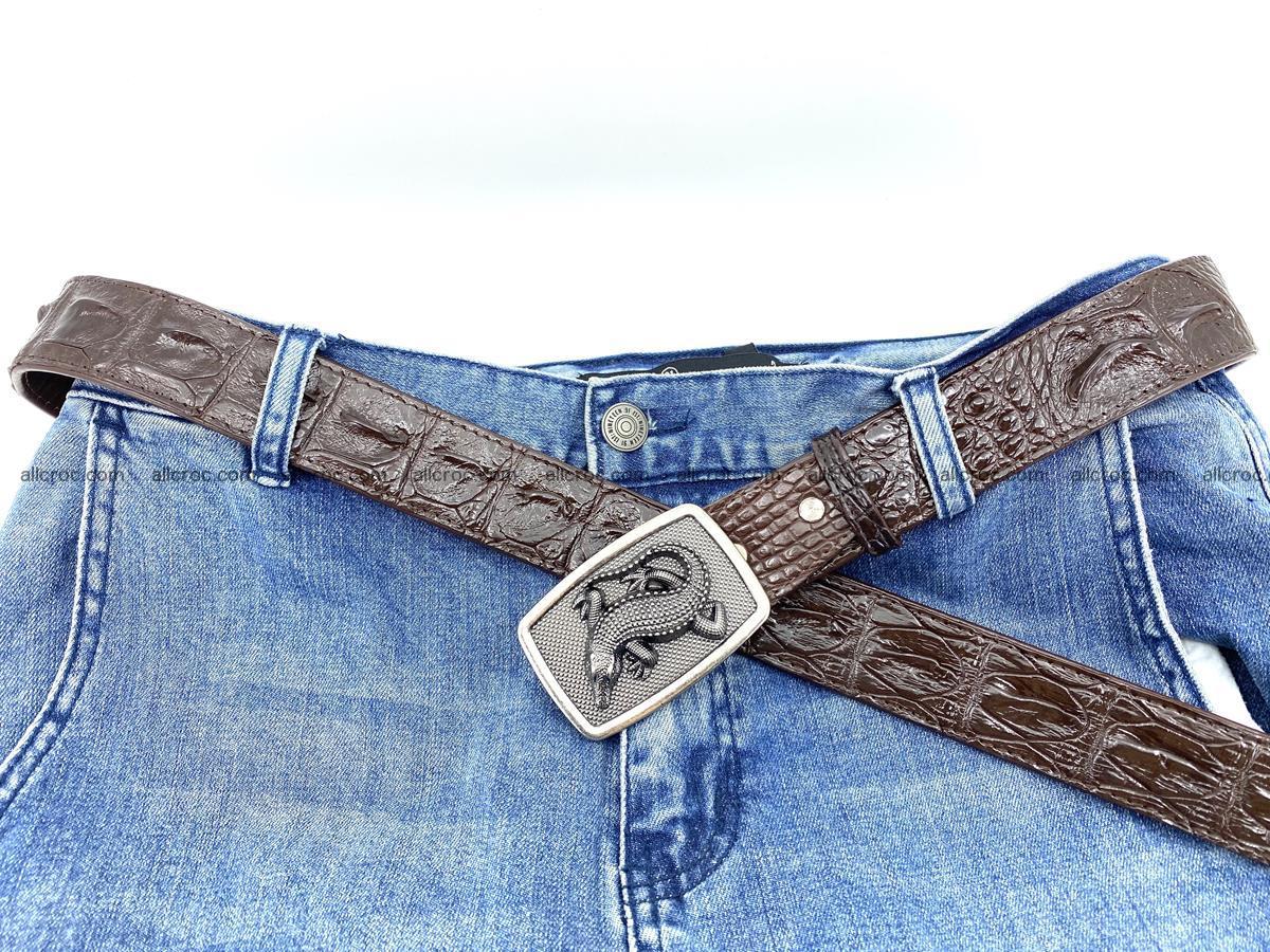 Handcrafted Crocodile leather hornback belt 808 Foto 5