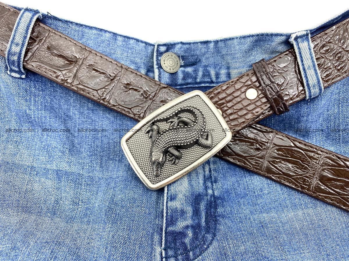 Handcrafted Crocodile leather hornback belt 808 Foto 6