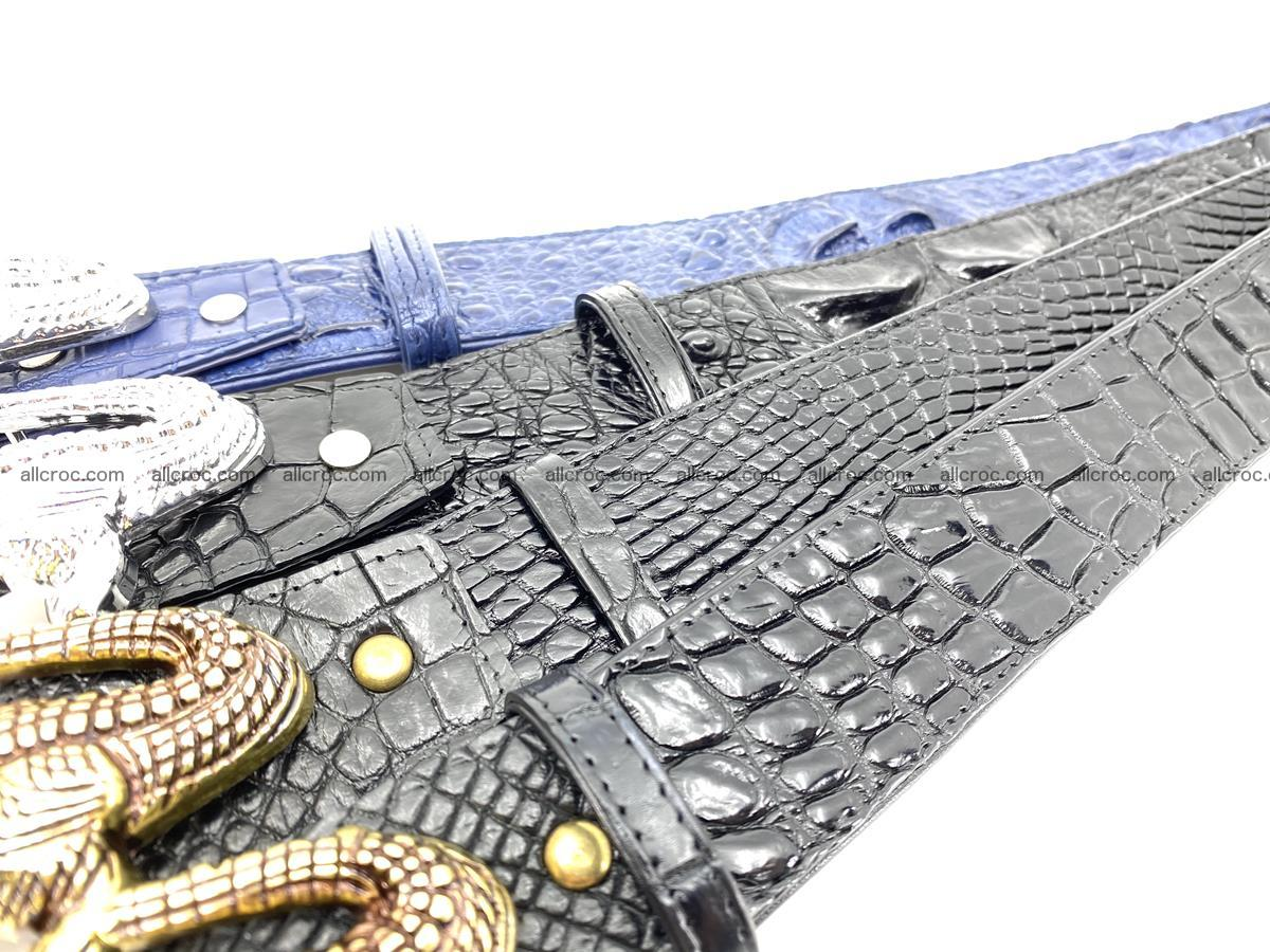 Handcrafted Crocodile leather hornback belt 764 Foto 19