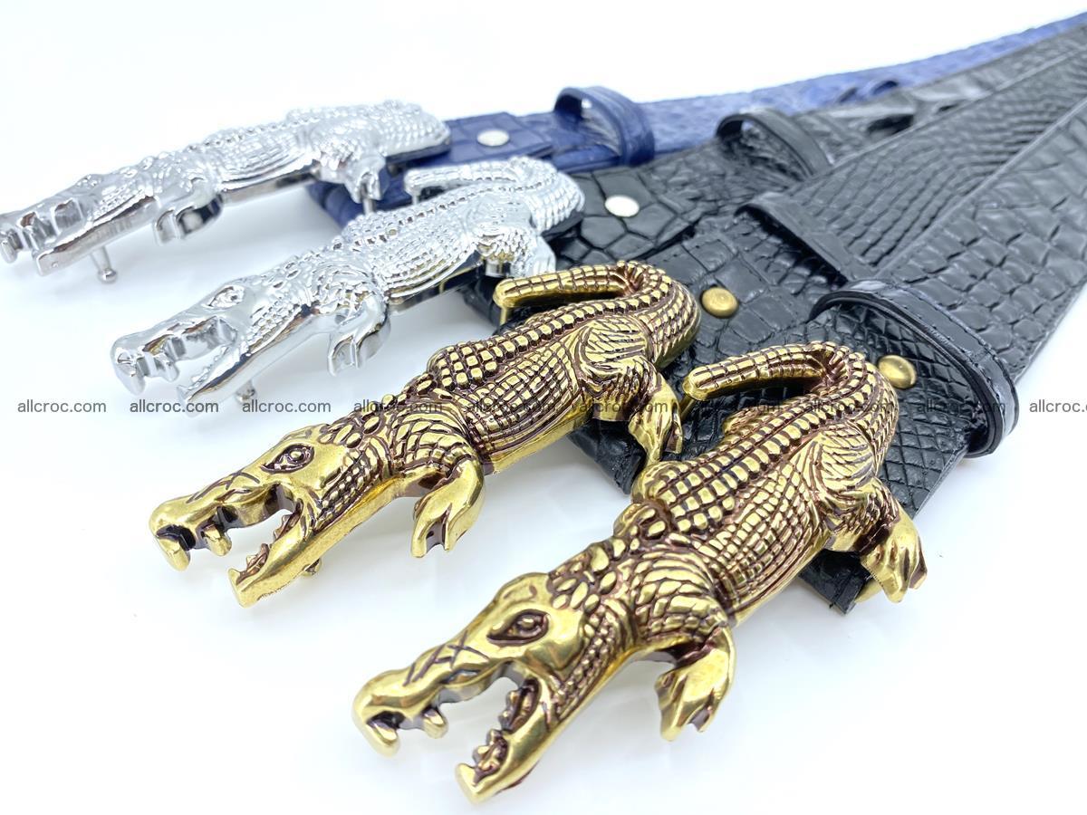 Handcrafted Crocodile leather hornback belt 764 Foto 20