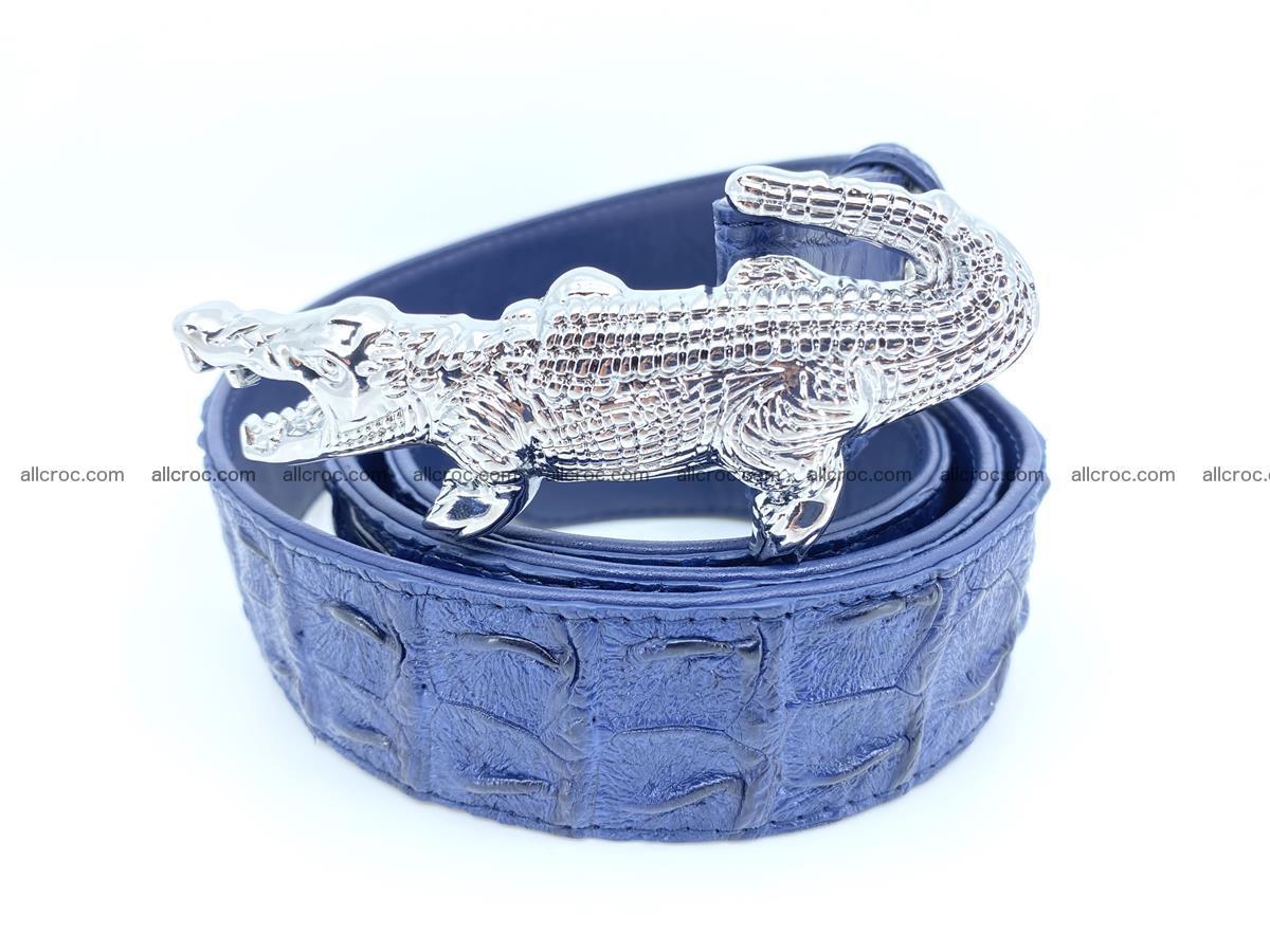 Handcrafted Crocodile leather hornback belt 764 Foto 1