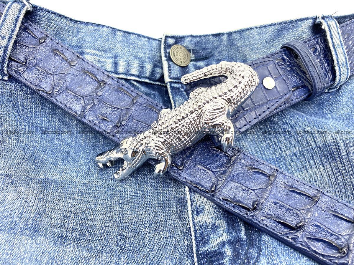 Handcrafted Crocodile leather hornback belt 764 Foto 10