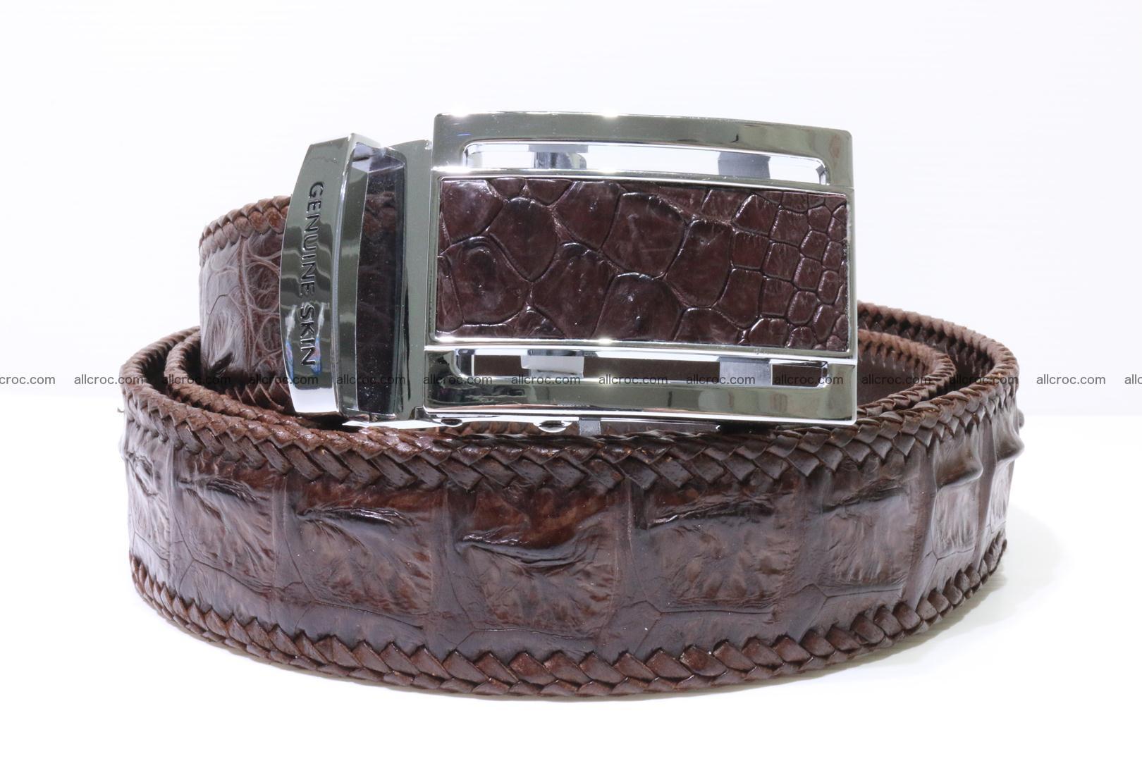 Handmade braided hornback genuine crocodile belt 011 Foto 0